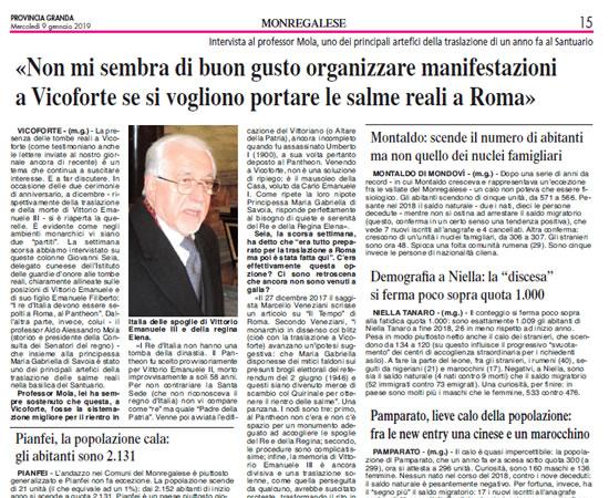 Provincia Granda, mercoledì 9 gennaio 2019 - Intervista a Aldo Mola