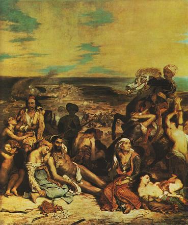 EUGENE DELACROIX (1798-1863). Probabilmente figlio adulterino di Charles Maurice de Talleyrand, già vescovo di Autun e ministro degli Esteri della Francia da Napoleone ai re della Restaurazione, fu tra le massime espressioni del Romanticismo pittorico europeo. Dette voce anche alla storia a lui contemporanea, come in Scene del massacro di Scio (conservato al Louvre di Parigi), l'isola greca ove i turchi annientarono ferocemente la popolazione cristiana. Il dipinto rivaleggiò per efficacia, con l'altrettanto celebre I Profughi di Parga di Francesco Hayez (1831).