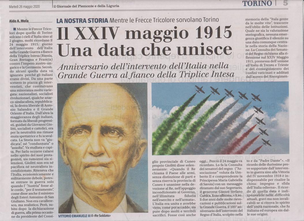 """Da """"Il Giornale del Piemonte e della Liguria"""" del 26.05.2020"""