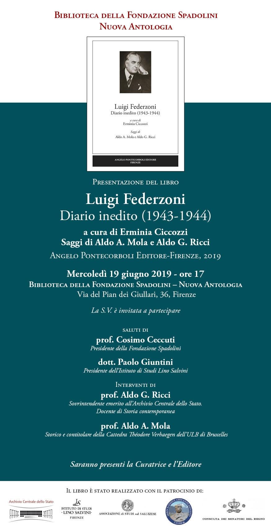 """IL DIARIO INEDITO DI LUIGI FEDERZONI ALLA FONDAZIONE """"SPADOLINI - NUOVA ANTOLOGIA"""" (Firenze, 19 giugno 2019)"""