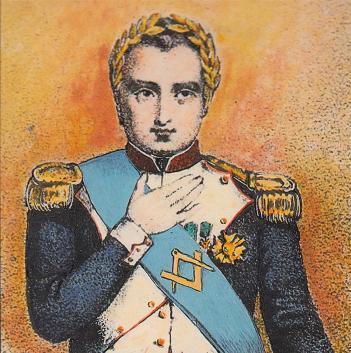 """Napoleone con corona apollinea e sciarpa massonica. L'iniziazione di Napoleone in loggia non à mai stata documentata. La prima consorte, Giuseppina de la Pagérie, era stata iniziata in una """"loggia di adozione"""" a Strasburgo quando il suo primo, Carlo di Beauharnais, massone, marito ne comandava la piazzaforte."""