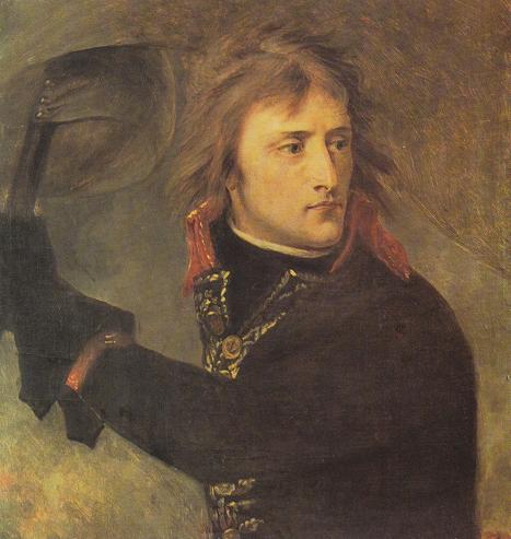 """""""Napoleone liberatore"""", comandante dell'Armée d'Italie, guida l'assalto vittorioso contro gli asburgici nella battaglia di Ponte Arcole (17 novembre 1796). Dipinto di Antoine-Jean Gros (1771- suicida, 1835), allievo di David e fiduciario di Napoleone."""