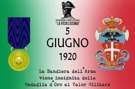 """Il 5 giugno 1920 venne conferita la Medaglia d'Oro all'Arma dei Carabinieri, """"fedele nei secoli"""" allo Stato. Era stata istituita nel 1814 da Vittorio Emanuele I di Savoia, Re di Sardegna."""
