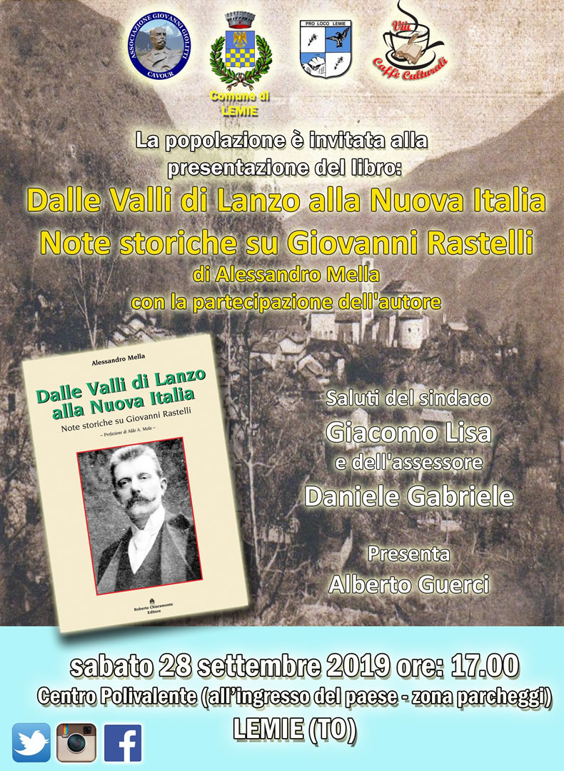 Il volume di Alessandro Mella sull'on. Rastelli a Lemie