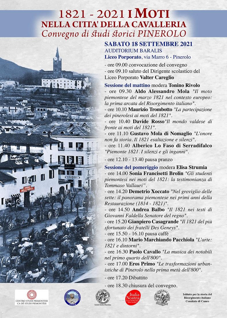Convegno Pinerolo, bicentenario moti 1821